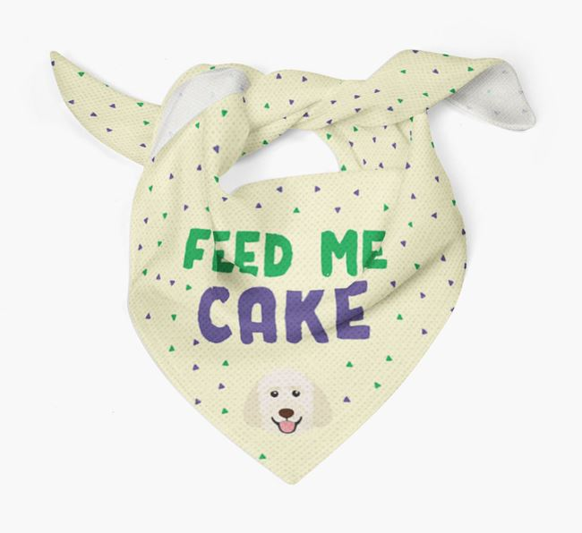 'Feed Me Cake' Bandana for your Goldendoodle