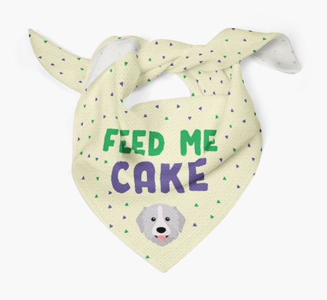 'Feed Me Cake' Bandana for your Great Pyrenees
