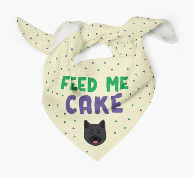 'Feed Me Cake' Bandana for your Norwegian Elkhound