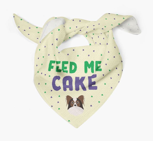 'Feed Me Cake' Bandana for your Papillon