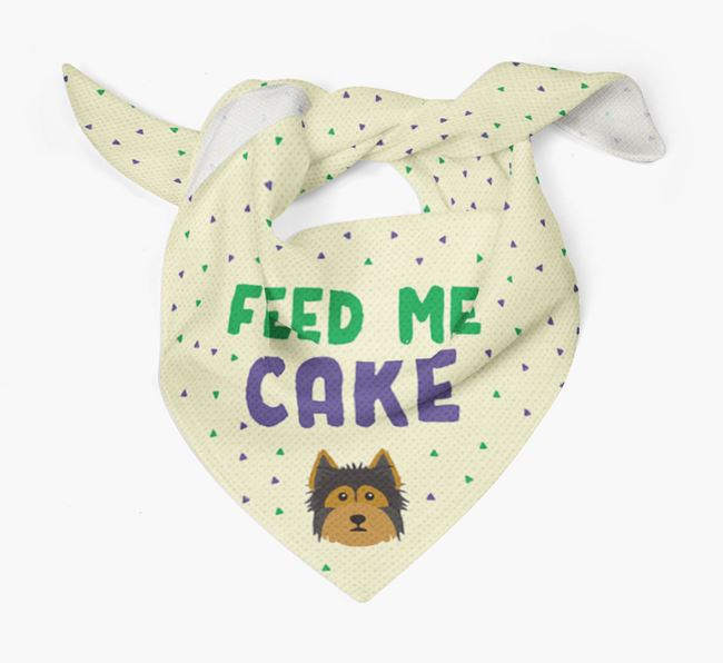 'Feed Me Cake' Bandana for your Yorkshire Terrier