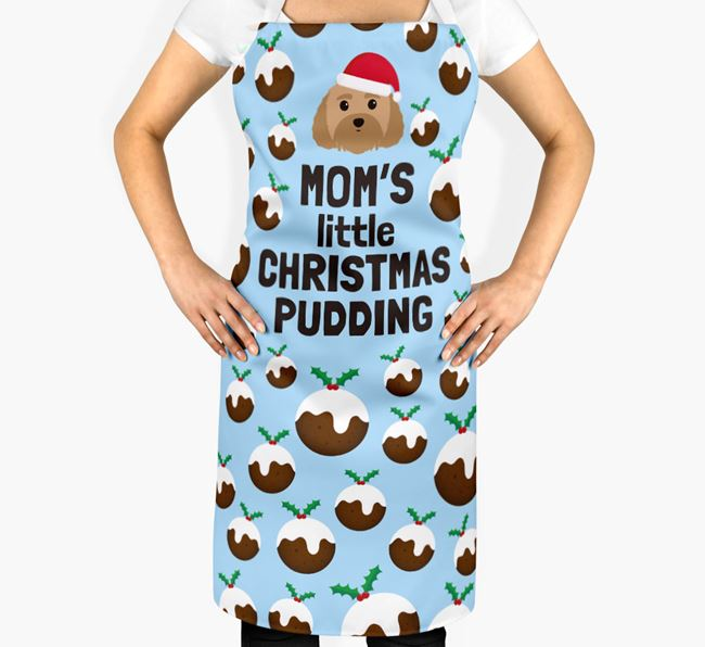 'Mom's Little Christmas Pudding' Apron with Dog Icon