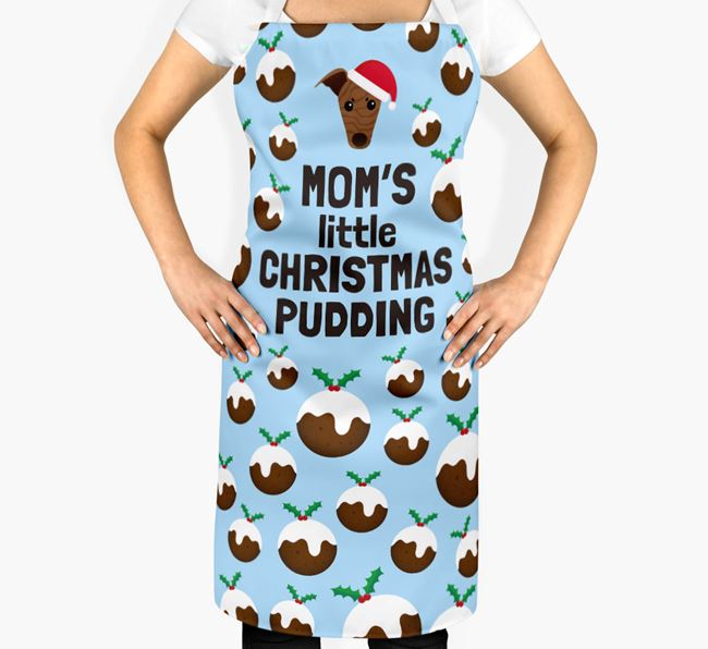 'Mom's Little Christmas Pudding' Apron with Whippet Icon