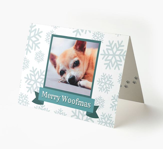 'Merry Woofmas' Card with Photo of your Chihuahua