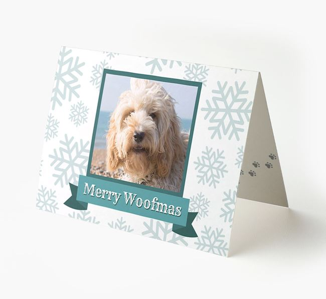 'Merry Woofmas' Card with Photo of your Cockapoo