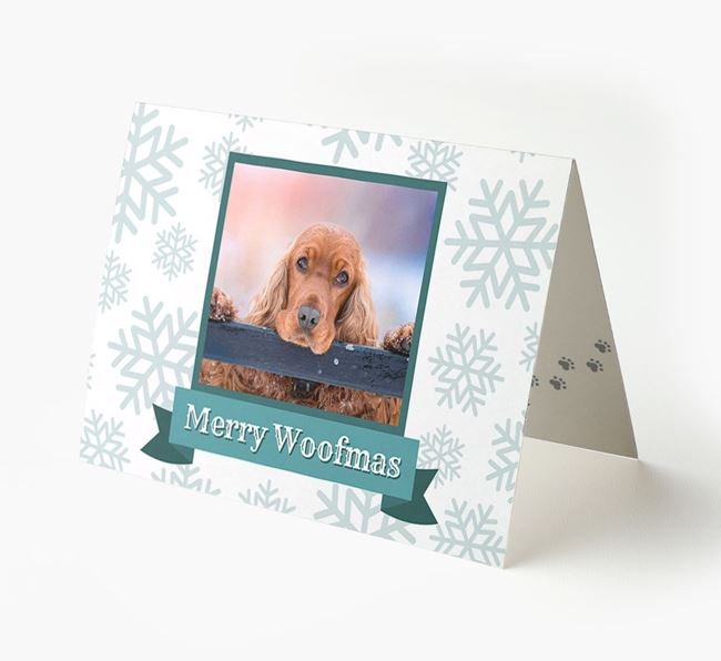 'Merry Woofmas' Card with Photo of your Cocker Spaniel