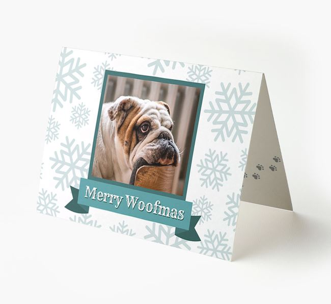 'Merry Woofmas' Card with Photo of your English Bulldog