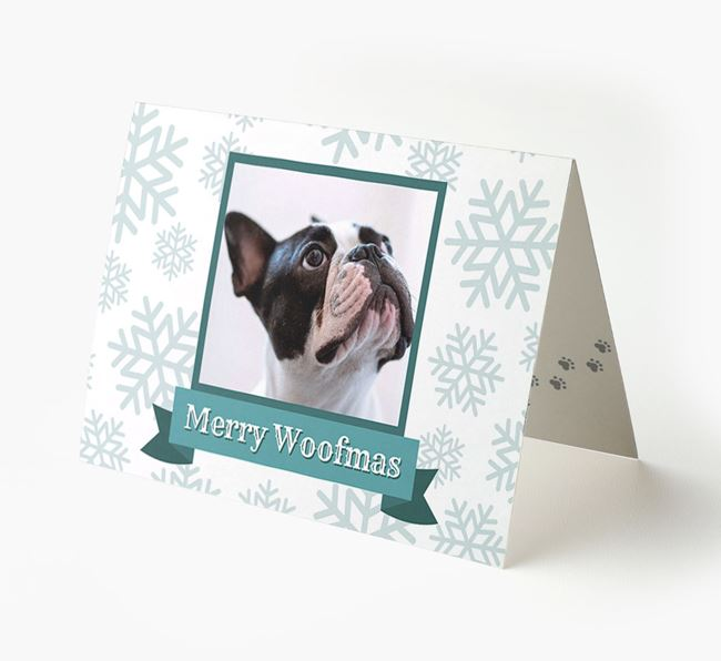 'Merry Woofmas' Card with Photo of your French Bulldog