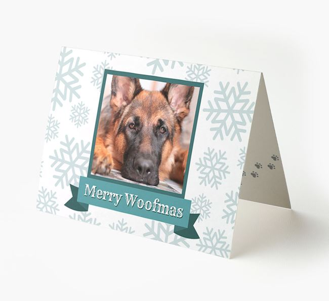 'Merry Woofmas' Card with Photo of your German Shepherd