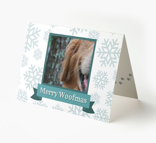 'Merry Woofmas' Card with Photo of your Golden Retriever