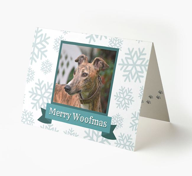 'Merry Woofmas' Card with Photo of your Greyhound