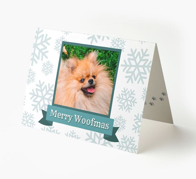 'Merry Woofmas' Card with Photo of your Pomeranian