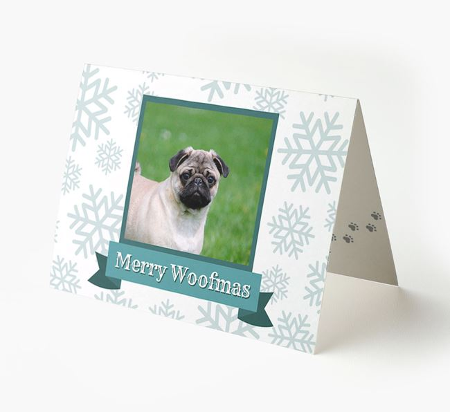 'Merry Woofmas' Card with Photo of your Pug