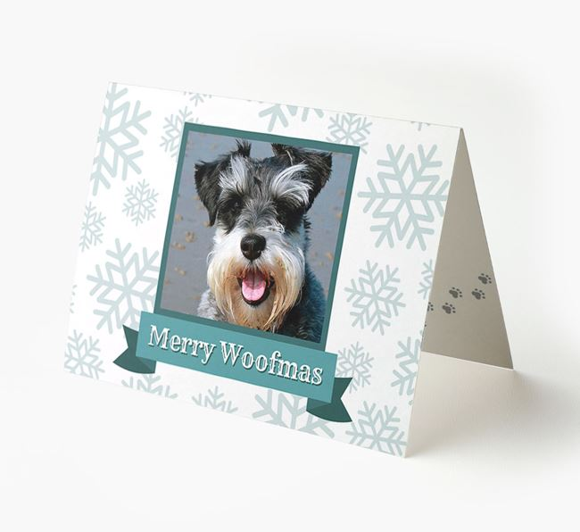 'Merry Woofmas' Card with Photo of your Schnauzer