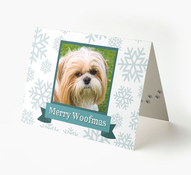 'Merry Woofmas' Card with Photo of your Shih Tzu
