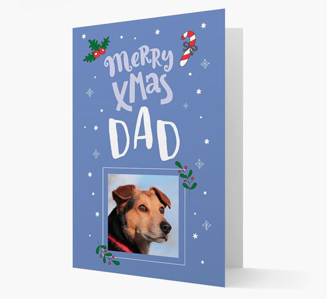 'Merry X-Mas Dad' - Bedlington Terrier Photo Upload Christmas Card