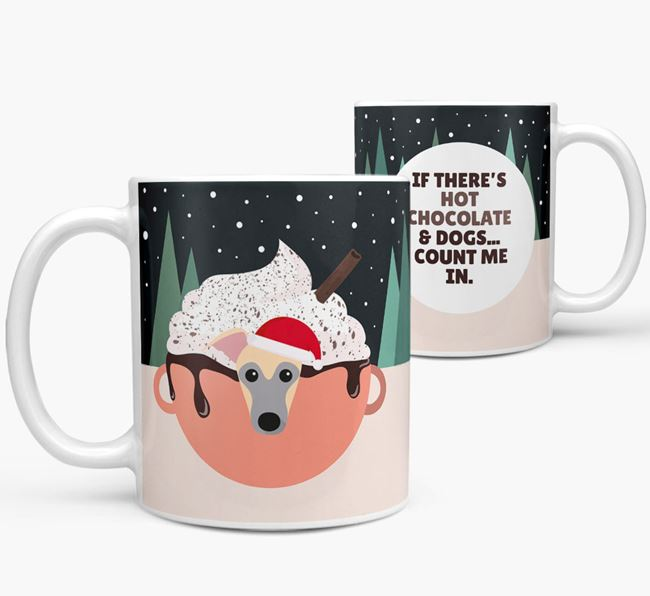 'Hot Chocolate and Dogs' Mug with Whippet Icon