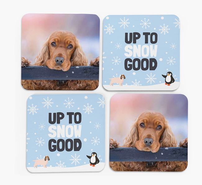 'Up To Snow Good' - Personalised Cocker Spaniel Photo Upload Coasters