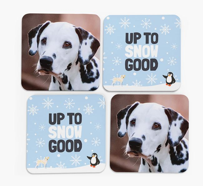 'Up To Snow Good' - Personalised Dalmatian Photo Upload Coasters