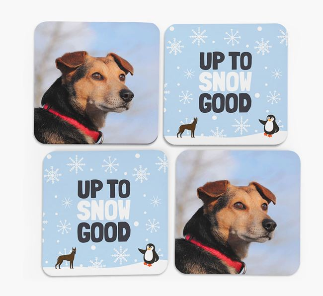'Up To Snow Good' - Personalised Great Dane Photo Upload Coasters