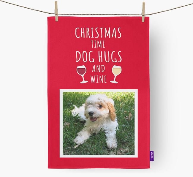 'Christmas Time' Tea Towel with Photo of your Cavachon