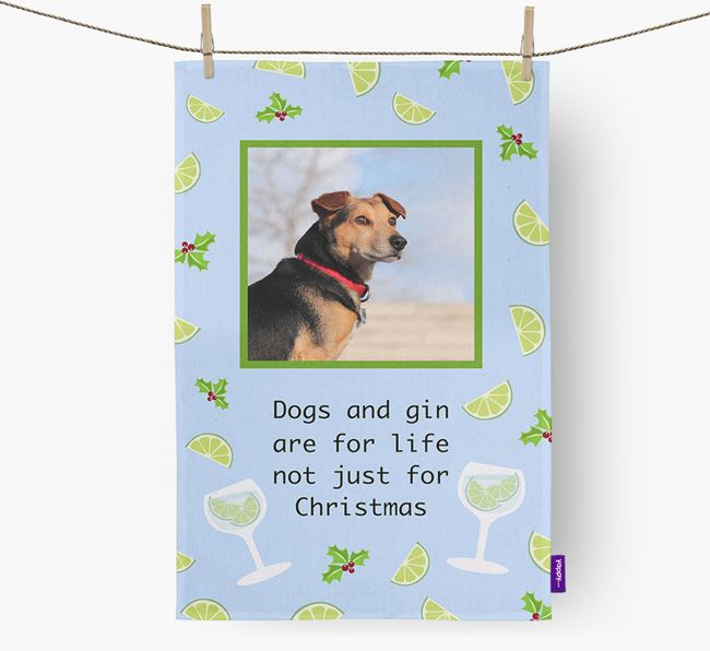 'Dogs and gin are for life' Tea Towel with Photo of your Great Dane