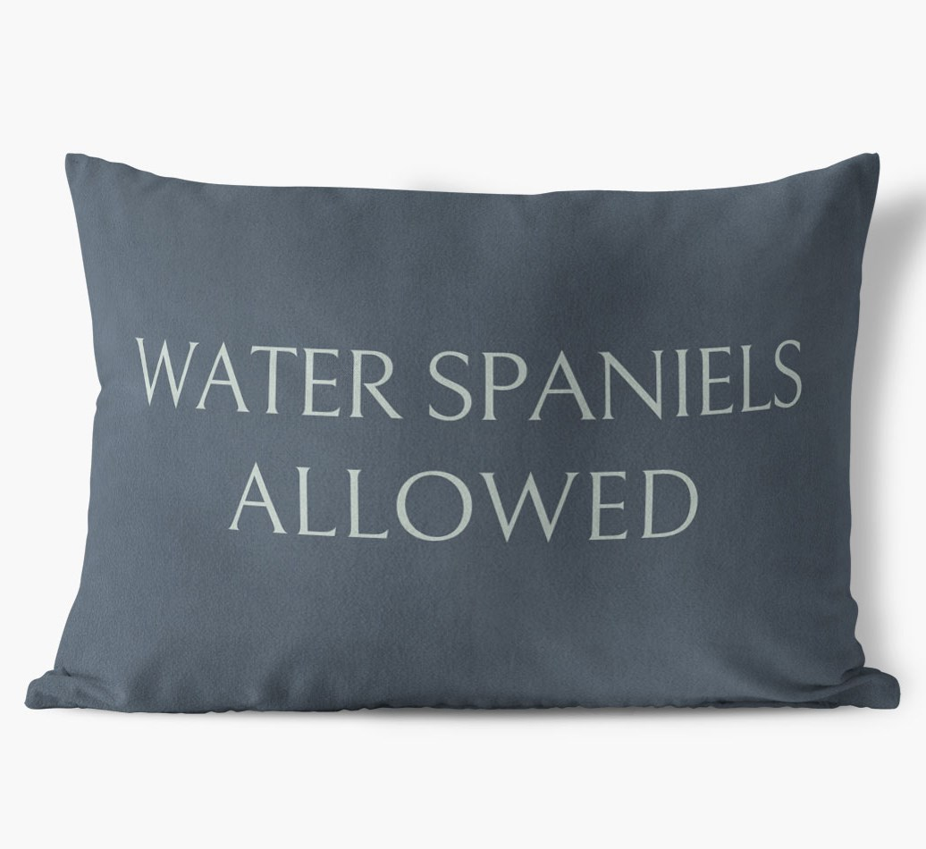 Irish Water Spaniels Allowed Faux Suede pillow in {colour} front view