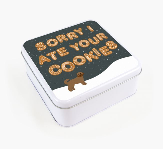 'Sorry I ate Your Cookies' - Personalised Cavachon Square Treat Tin