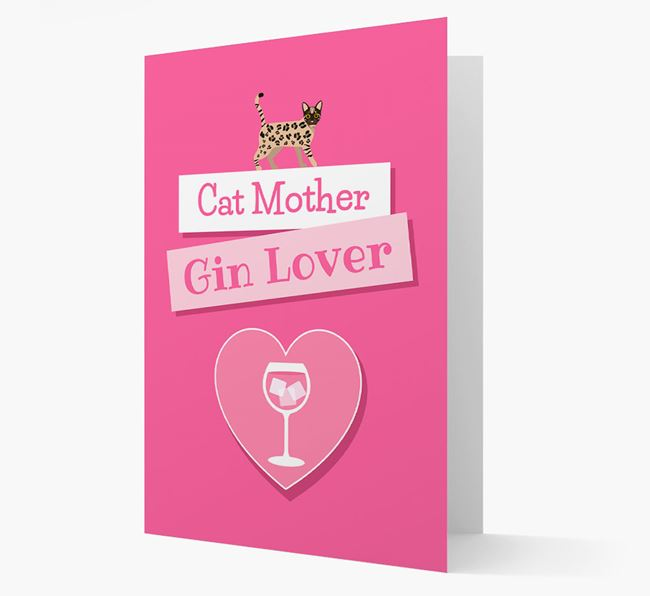 'Cat Mother, Gin Lover' - Personalised Bengal Card