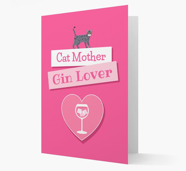 'Cat Mother, Gin Lover' - Personalized Bengal Card