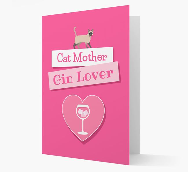 'Cat Mother, Gin Lover' - Personalized Siamese Card