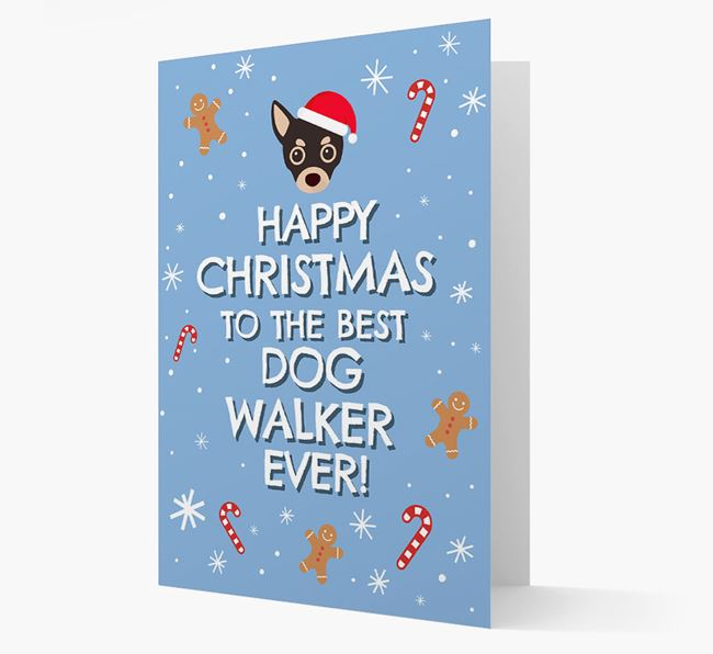'Happy Christmas to the Best Dog Walker' - Personalised Chihuahua Christmas Card