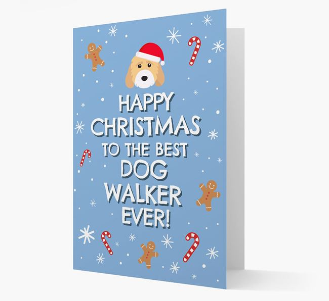 'Happy Christmas to the Best Dog Walker' - Personalised Cockapoo Christmas Card