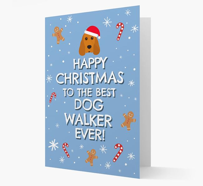 'Happy Christmas to the Best Dog Walker' - Personalised Cocker Spaniel Christmas Card