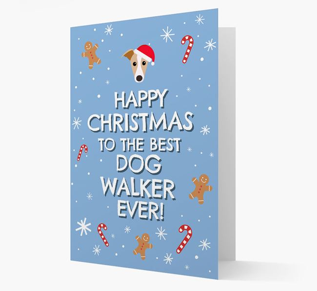 'Happy Christmas to the Best Dog Walker' - Personalised Greyhound Christmas Card