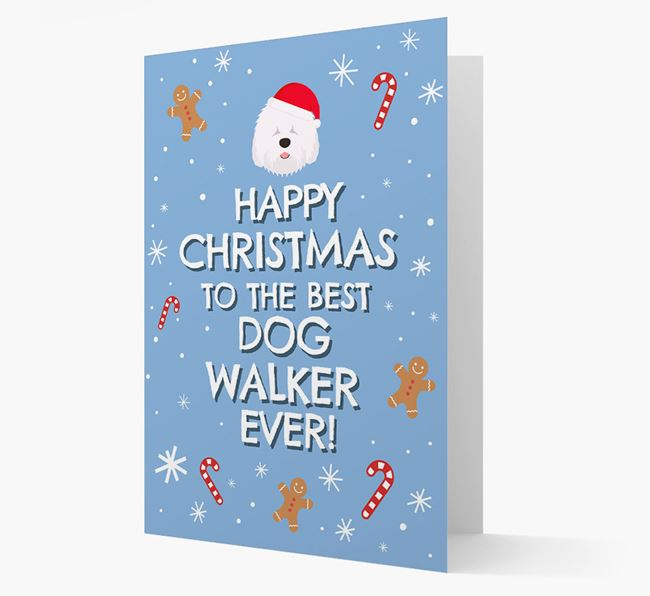 'Happy Christmas to the Best Dog Walker' - Personalized Old English Sheepdog Christmas Card
