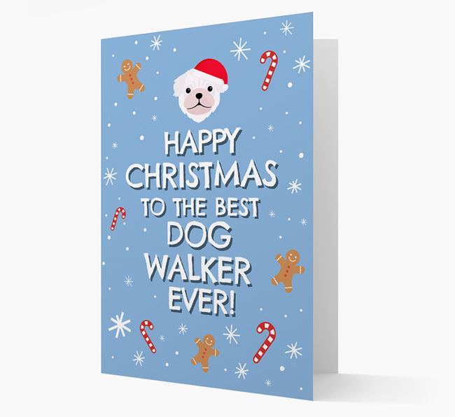 'Happy Christmas to the Best Dog Walker' - Personalised Pug Christmas Card