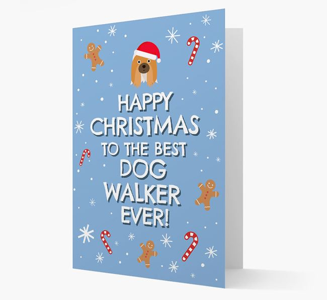'Happy Christmas to the Best Dog Walker' - Personalised Shih Tzu Christmas Card