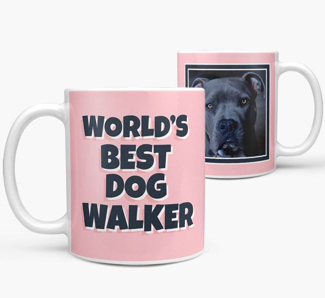 'World's Best Dog Walker' Mug with Photo of your American Pit Bull Terrier