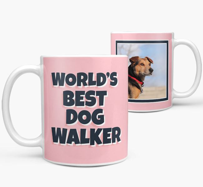'World's Best Dog Walker' Mug with Photo of your Bearded Collie