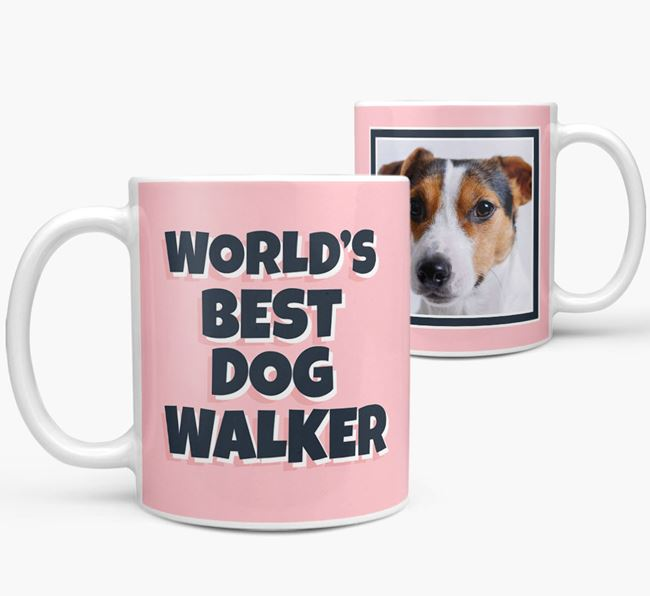 'World's Best Dog Walker' Mug with Photo of your Jack Russell Terrier