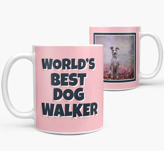 'World's Best Dog Walker' Mug with Photo of your Lurcher