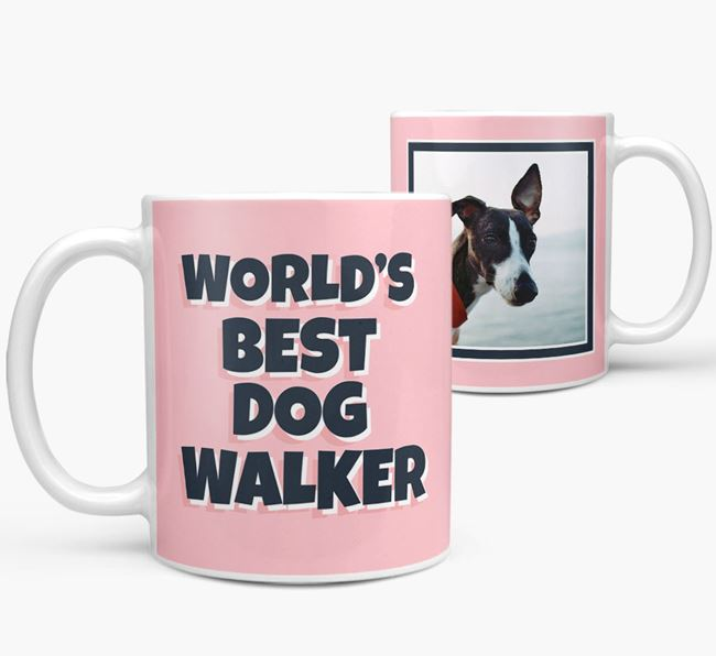 'World's Best Dog Walker' Mug with Photo of your Whippet