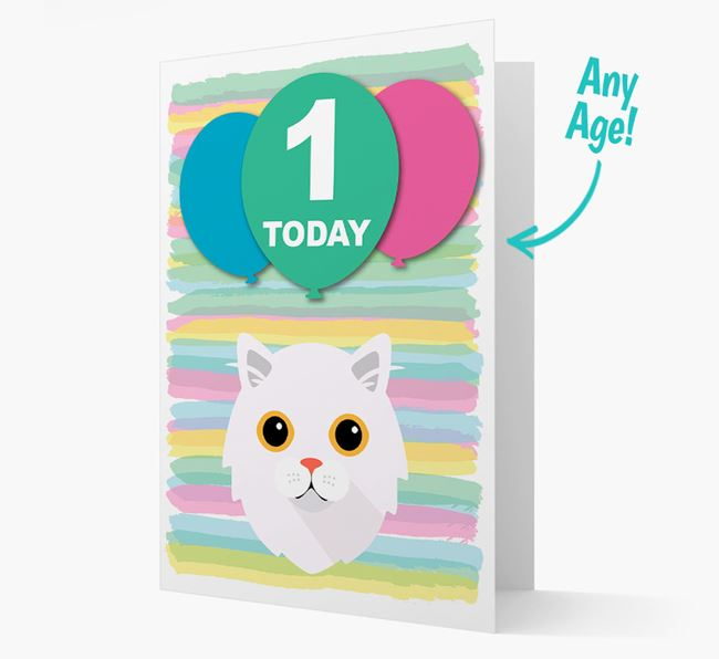 'Ages 1-18' - Personalised Cat Birthday Card