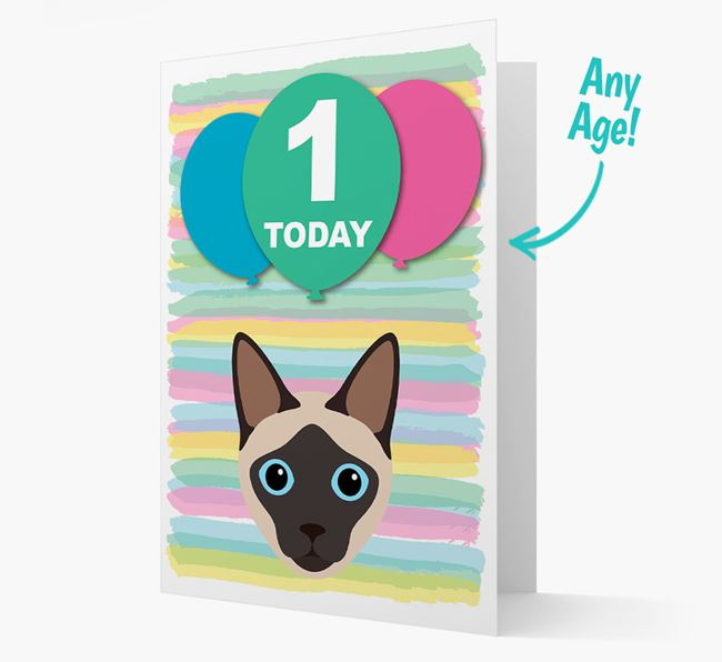'Ages 1-18' - Personalised Siamese Birthday Card