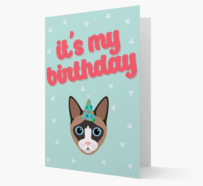 'It's My Birthday' - Personalized Cat Card