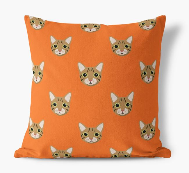 'Cat Icon Pattern' - Personalized Canvas Cushion