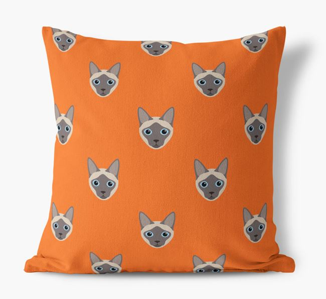 'Siamese Icon Pattern' - Personalized Canvas Cushion