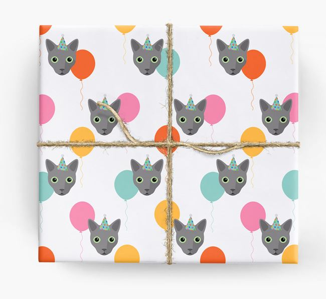 'Birthday Balloons' - Personalised Cat Wrapping Paper