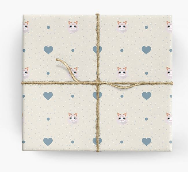 'Cat Icon & Hearts' - Personalized Wrapping Paper